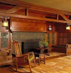 Inglenook Fireplace at Historic Gamble House (Photo Credit: Tim Street-Porter)…