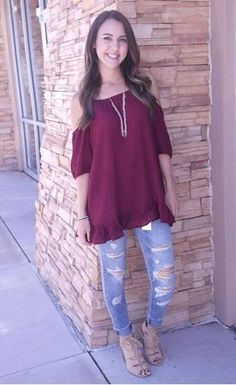 Picture of Lucie Open Shoulder Blouse (wine)