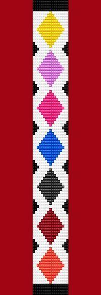 Argyle Diamond Bracelet Thin Bead Bracelet Pattern Loom Stitch