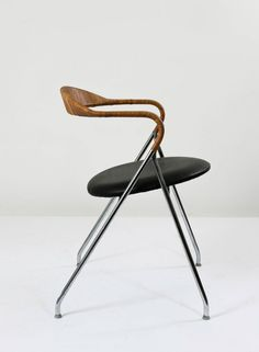 Hans Eichenberger; #HE-103 Chromed Steel and Cane 'Saffa' Chair for Keller Metallbau, c1960.