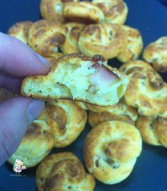 Receta casera de buñuelos de bacon y queso parmesano #aperitivos