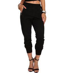 Black Zip Pockets Harem Pants