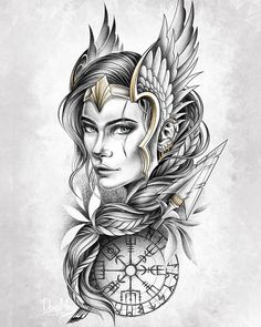 Norse Mythology Tattoo, Greek Mythology Tattoos, Norse Tattoo, Armor Tattoo, Tribal Tattoos, Thai Tattoo, Maori Tattoos, Valkyrie Norse Mythology, Samoan Tattoo