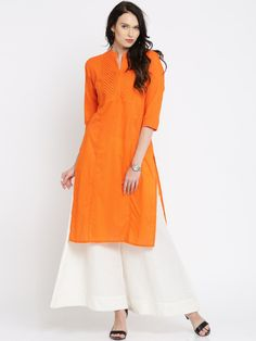 Buy Anouk Women Orange Solid Straight Kurta - Kurtas for Women | Myntra