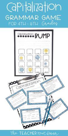 Grammar Games, Grammar Activities, 6th Grade English, Proper Nouns, 5th Grade Reading, Reading Games, Teaching Strategies, Test Prep, Task Cards