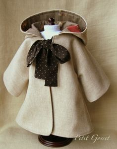 "Sewing PDF Pattern and Tutorial for Hooded Coat for 18-20"" Doll :: Petit Gosset…"