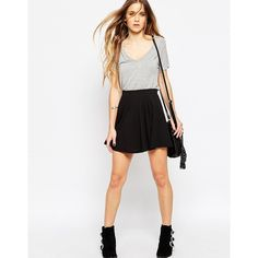 Noisy May Apra Skater Skirt in Black (48 BRL) ❤ liked on Polyvore featuring skirts, black, jersey knit skirt, flared skirt, black circle skirt, jersey skater skirt and circle skirt