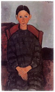 Fillette assise robe noire (1918)