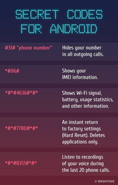 Codes For Android The for There are the most insane key combinations that will give you access to the all hidden functions of your included.Android Android may refer to: Hacking Websites, Life Hacks Websites, Hacking Tricks, Learn Hacking, Android Secret Codes, Android Codes, Iphone Codes, Gernal Knowledge, General Knowledge Facts
