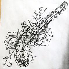 Guns and roses shaded by onfire4Him.deviantart.com on @deviantART