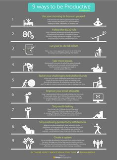 """9 Ways to be Productive"" via Onextrapixel"