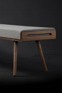 Solid walnut bench by Habitables