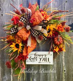 Happy Fall Y'all 🍂 by Holiday Baubles Easy Fall Wreaths, Thanksgiving Wreaths, How To Make Wreaths, Thanksgiving Decorations, Wreath Fall, Fall Decorations, Grapevine Wreath, Halloween Wreaths, Fall Halloween