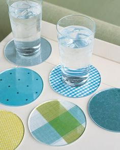 Match your decor -- or your mood -- with coasters made from Plexiglass circles (ours are 4 inches in diameter). You can have disks or any shape cut at a plastic-supply company for about $1 each.