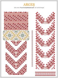 Semne Cusute: model de ie din MUNTENIA, Arges Folk Embroidery, Embroidery Patterns, Cross Stitch Patterns, Popular Costumes, Palestinian Embroidery, Color Psychology, Peyote Stitch, Embroidery Techniques, Hama Beads