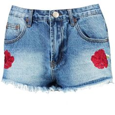 Boohoo Hetty Floral Embroidered High Rise Mom Shorts   Boohoo (€20) ❤ liked on Polyvore featuring shorts, high-waisted shorts, high waisted sequin shorts, culottes shorts, hot shorts and micro shorts