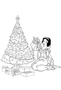 Snow White Make Decorating For Christmas Coloring Pages