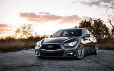 Download wallpapers Infiniti Q50, 2017, sports gray sedan, white wheels, tuning Q50, Japanese cars, LED lights