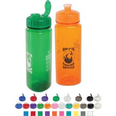 """The lustrous, high gloss finish bottle features a 3-sided modern design comfortable to hold! Measuring 9 1/8"""" H x 2 7/8"""" D this reusable and recyclable, this bottle features a wide mouth lid making it easy to add ice cubes. These BPA free bottles have a leak-resistant push-pull lid, and fit most auto cup holders. Hand wash only. Ideal for sports teams, fitness centers, schools and corporations. Available in 10 translucent colors for a unique touch!"""