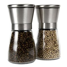 Stainless Steel Salt and Pepper Grinder Set Brushed Stainless Steel Pepper Mill and Salt Mill Glass Body Adjustable Ceramic Rotor  >>> Be sure to check out this awesome product.