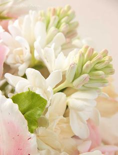 Tuberose. Clay handmade flowers Композиции : Букет с туберозой и английскими розами - В НАЛИЧИИ - Fito Art