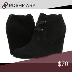 Dolce Vita Gardyn Black Wedge Bootie Bootie, suede and lace up, PRACTICALLY NEW! No stains or wear. The bottoms are clean!! Dolce Vita Shoes Ankle Boots & Booties