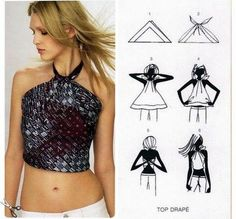 DIY Halter top. Scarf Top, Scarf Shirt, Diy Scarf, Diy Halter Top, Bandanas, Top Diy, Diy Tops, Summer Scarves, Simple Outfits