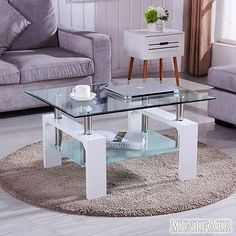 Tempered #glass coffee table #rectangular black white red #walnut legs chrome bar,  View more on the LINK: 	http://www.zeppy.io/product/gb/2/331915712360/