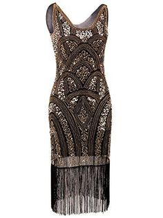 Vijiv 1920s Vintage Inspired Sequin Embellished Fringe Prom Gatsby Flapper Dress