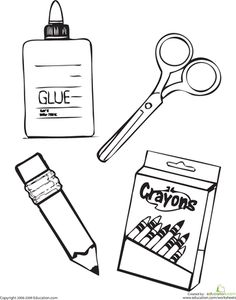 School Supplies Coloring Page, fill in the missing letter- from ...