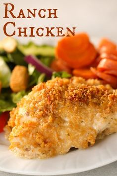 chicken recipes Our favorite chicken dinner - Ranch Chicken. This is perfect for Sunday dinner or family parties! Baked Ranch Chicken, Ranch Chicken Recipes, Baked Chicken Recipes, Dry Ranch Dressing Mix Recipe Chicken, Sunday Dinner Recipes Chicken, Ranch Parmesan Chicken, Ritz Chicken, Ritz Cracker Chicken, Chicken Cutlet Recipes