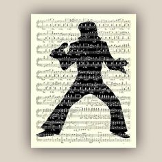 Elvis Presley silhouette on old sheet music reproduction, Print Song, Lyric art, musical art print, prints and poster, decorative arts by DigiMarthe on Etsy