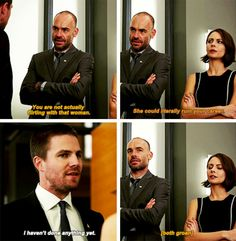 """You're not actually flirting with that woman"" - Quentin, Thea and Oliver #Arrow"