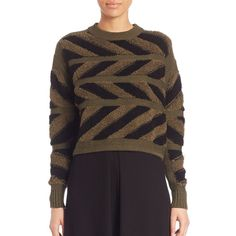 Public School Inlay Chevron Pullover ($125) ❤ liked on Polyvore featuring tops, sweaters, apparel & accessories, crew neck sweaters, crew neck pullover sweater, chevron tops, crew top and chevron sweater