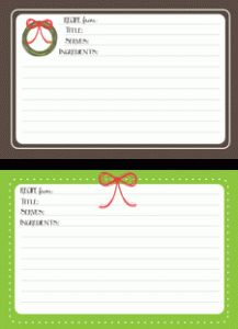 FREE Holiday Recipe Card Printables