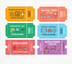 Buy Cartoon Color Different Tickets Icon Set by mousemd on GraphicRiver. Cartoon Color Different Tickets Icon Set Museum of Art or History, Amusement Park and Cinema Concept Flat Design Styl. Printable Stickers, Cute Stickers, Kawaii Stickers, Ticket Design, Journal Stickers, Aesthetic Stickers, Cute Art, Creations, Paper Crafts
