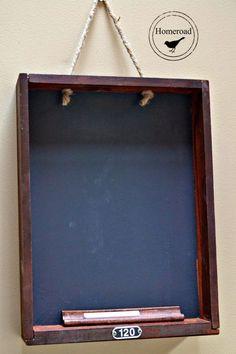 Vintage Drawer Chalkboard using an old desk drawer and chalk paint. www.homeroad.net #farmhousestyle #repurposed #repurposeddrawer #chalkboard #vintagestyle #diyblogger #diyproject #vintagelook