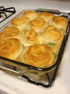 Easy Chicken Pot Pie...try an extra can of cream of chicken soup and I used crescent rolls instead of biscuits.