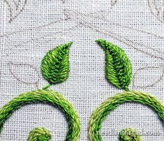 Secret Garden Embroidery Project - Stitching Leaves