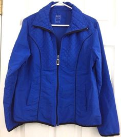 3 Hearts Jacket Light Weight Quilted Royal Blue Black Trim Size M Full Zipper #3Hearts #BasicJacket #Casual