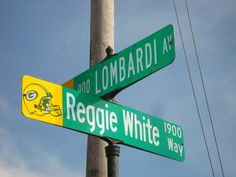 Intersection of Lombardi Avenue and Reggie White Way in Green Bay, Wisconsin.