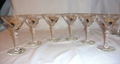 Vintage Mid Century Rooster Starburst Gold Black Martini Cocktail Bar Glasses