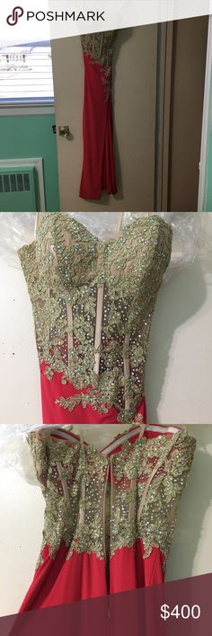 La Femme Prom Dress Gorgeous Coral La Femme Prom Dress. Sequin and Jewel beading all over corset. Has slit down right leg. Altered, was worn with 3 inch heels, I'm 5'4. Zip Closure in Back. Strapless. Contains rubber lining around bust. feel free to make an offer:) La Femme Dresses Prom