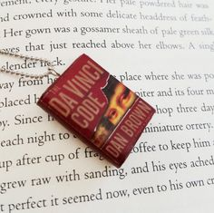 The Da Vinci Code Handmade Mini Book Necklace Clay Charms Pendant - Miniature Books - Book Gifts - Book Jewelry - Book Lover Gift