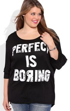 Deb Shops Plus Size Dolman Top with Perfect is Boring Screen and Slash Back