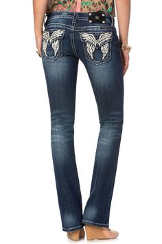 Phoenix Leather Wing Straight Leg Jeans by missme - $99 - JP5936T-MK239