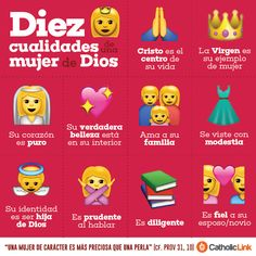 Catholic-Link& Library — Infographic: 10 qualities of a woman of God Catholic Quotes, Catholic Beliefs, Daughters Of The King, Catechism, Godly Woman, God Is Good, Holy Spirit, Gods Love, Christianity