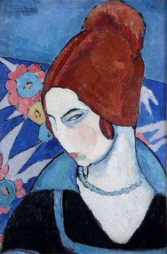 Self portrait by French artist Jeanne Hébuterne wife & muse of painter Amadeo Modigliani. Amedeo Modigliani, Renoir, French Artists, Oeuvre D'art, Art History, Modern Art, Artsy, Drawings, Illustration