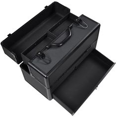 14X7X9' Lockable Black ABS Aluminum Cosmetic Makeup Train Case W/ Drawer Trays ** See this great product.