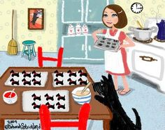 Scotty dog helps to bake Scottish terrier cookies illustration. Dog Items, Terrier Dogs, Bull Terriers, Westies, Beagles, Dog Quotes, Dog Training, Training Tips, Dog Art